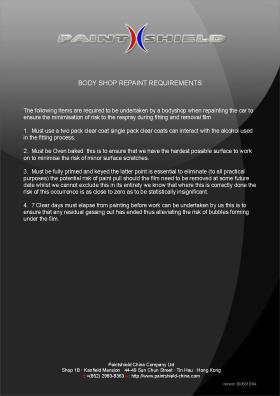 Body Shop Repaint Requirements