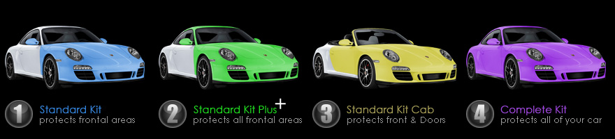Paint Protection Kits - Standard Kit protects most frontal areas, Standard Kit Plus protects all frontal areas, Standard Kit Cab protects all frontal areas and doors, Complete Kit protects all of your car.
